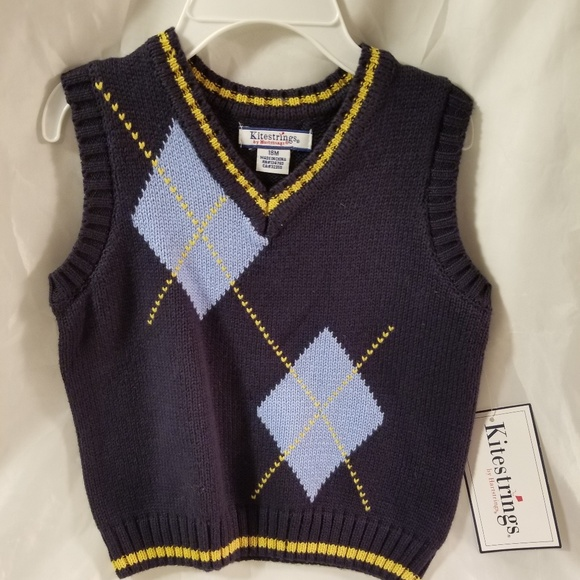 NWT Janie And Jack Boy/'s Red Size 2T Blue /& Gray Snowflake Sweater Vest